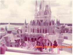 Cinderella Castle seen from the Skyway over Fantasyland, Magic Kingdom, Walt Disney World. July 1973