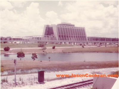 Walt Disney World's Contemporary Resort seen from the Walt Disney World Rail Road in July 1973.