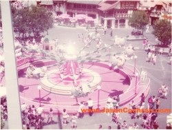 Original version of Dumbo the Flying Elephant, Fantasyland, Magic Kingdom, Walt Disney World, July 1973