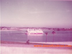 Ferry across the Seven Seas Lagoon, Walt Disney World, Florida. July 1973