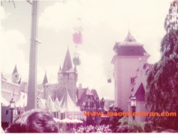 Skyway, Fantasyland, Magic Kingdom, Walt Disney World, looking east. July 1973.