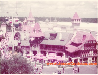 Fantasyland viewed from the Skyway. July 1973.
