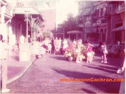 Rare view of West Center Street on Main Street, USA, in the Magic Kingdom, Walt Disney World, in July 1973.