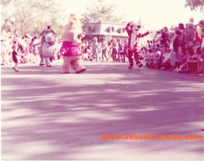 Eeyore, Winnie the Pooh, Tigger in the parade at the Magic Kingdom, Walt Disney World, mid-1970s.