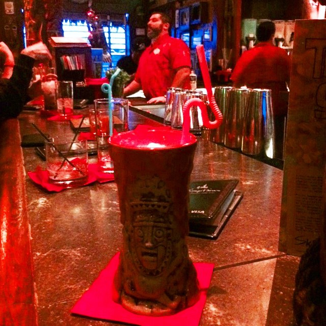 Order a Krakatoa Punch at #Disneyland's Trader Sams tiki bar and the lights go lava red and the volcano outside the window erupts. Your mug (which you keep) is illuminated from within, too. And contrary to rumor, it's got booze in it. #Disney #cocktail #LosAngeles #California