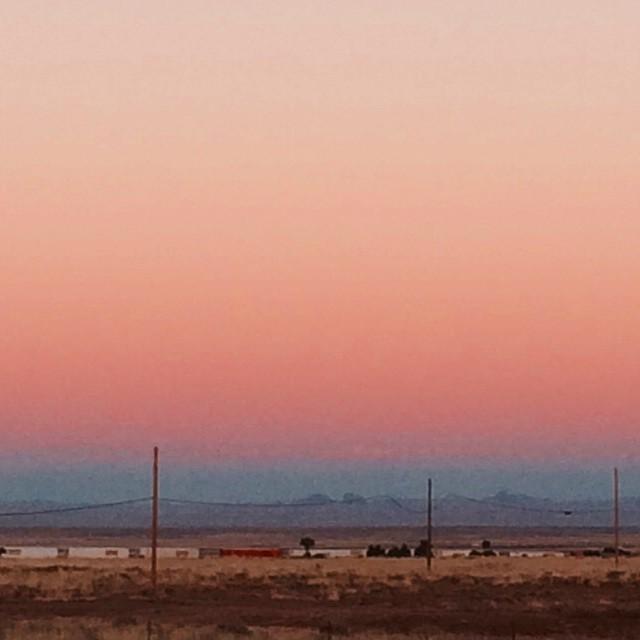 #Arizona sunset with bonus boxcars. #RoadTrip #america #desert