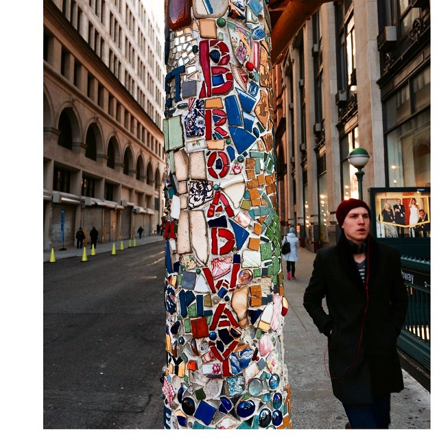 For three decades, homeless Vietnam veteran Jim Powers has created streetlamp art out of bits of broken tile in New York City's East Village. This one, at 8th Street and Broadway by the onetime Wanamaker's department store, has more than 2,800 pieces. Powers doesn't get paid a penny for them; he does it to beautify the neighborhood. Politicians, though, don't get it. Giuliani's cabal removed 50 of them. Powers keeps on going anyway. But the current city-led redesign of Astor Place has him fed up. He's dismantling some artwork himself in protest of its banal, local-hostile design. It's Manhattan's loss that his street art won't last much longer than he does. #newyork #Manhattan #art #streetart #graffiti #eastvillage #broadway