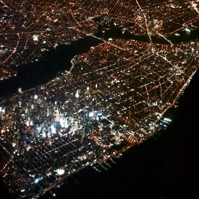 Manhattan at night looks like a pincushion. A starry, gorgeous pincushion. #newyork #Manhattan