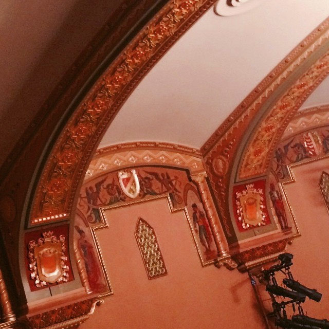 Toreador murals and Spanish-style crests at the ceiling of the John Golden Theatre, built in 1927 as the Masque. It's one of the few Broadway houses without box seats. Although it was the last house Bette Davis played before going to Hollywood, its longest-running occupant was 'Avenue Q'. #broadway #newyork #architecture