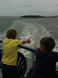Kids on Fort Sumter Ferry