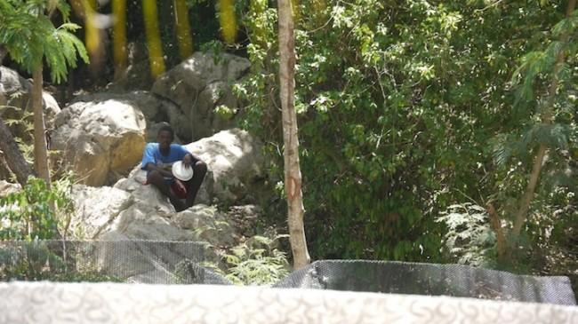 Haitian beggar outside Royal Caribbean's private resort area