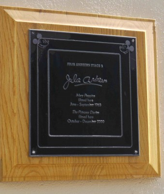 Now and then you'll find a plaque (like this one honoring two movies Julie Andrews shot on a stage at Walt Disney Studios in Burbank), but they only note a few productions, and they're uncommon.