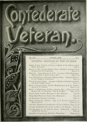 January, 1909, edition of 'Confederate Veteran