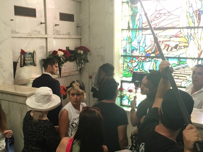 Woman of Black at Valentino's crypt